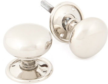 Bun Mortice/Rim Knob Set, Polished Nickel - 83839