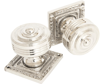 'Tewkesbury' Square Mortice Door Knob Set, Polished Nickel, Aged Brass, Polished Chrome OR Aged Bronze - 83859