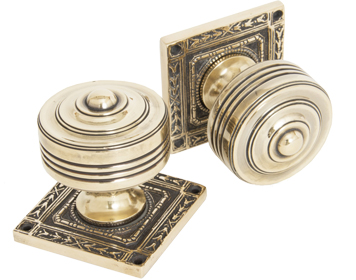 'Tewkesbury' Square Mortice Door Knob Set, Aged Brass - 83860