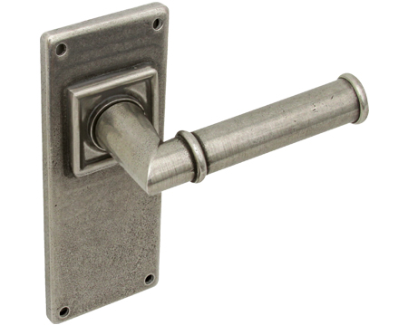 Hafele 'Lamont' Door Handles On Back Plate, Solid Pewter - 901.99 (sold in pairs)
