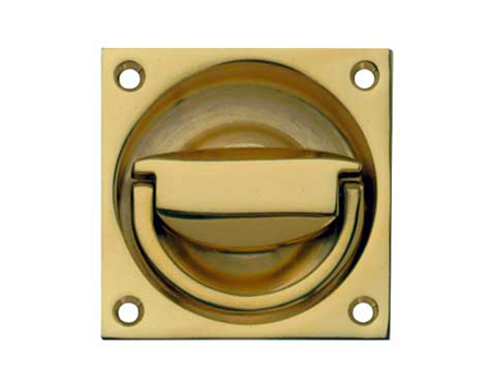 Hafele Flush Ring Pull Handle (65mm x 65mm), Polished Brass Or Satin Nickel - 901.03.906