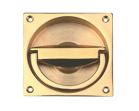 Hafele Flush Ring Pull Handle (90mm x 90mm), Polished Brass Or Satin Nickel - 901.03.916
