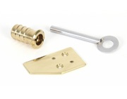 From The Anvil Keyed Flush Sash Stop, Polished Brass - 90271