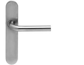 Hafele Startec 'Body' Handles On Backplate, Grade 304 Satin Stainless Steel - 902.90.236 (sold in pairs)