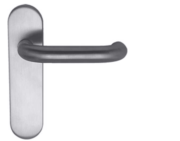 Hafele 'Snowdon' DDA Compliant Handles On Backplate, Grade 316 Satin Stainless Steel - 902.90.800 (sold in pairs)