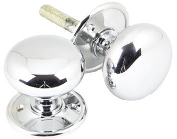 Mushroom Mortice/Rim Knob Set, Polished Chrome - 90291