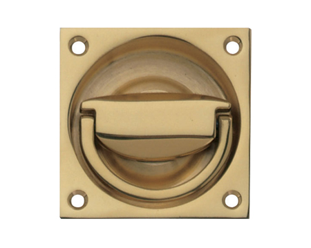 Hafele Flush Ring Pull Handle (75mm x 75mm), Polished Brass, Satin Nickel OR Polished Chrome - 910.37.008