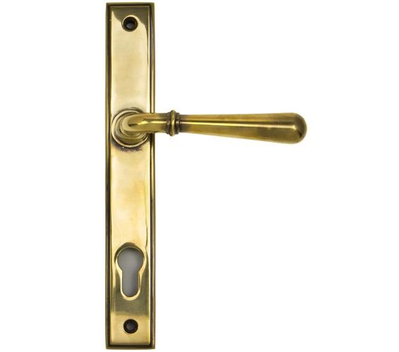 From The Anvil Newbury Slimline Lever Espagnolette, Sprung Door Handles,  Aged Brass   91413