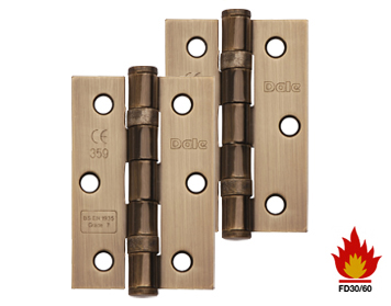 Excel Hardware 3 Inch Solid Steel Ball Bearing Hinges (Grade 7), Antique Brass - XL965-ANB (sold in pairs)