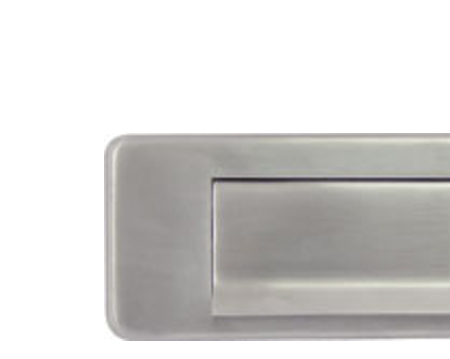 Hafele 'Spring Flap' Letter Plate (350mm x 73mm), Satin Stainless Steel - 986.10.040