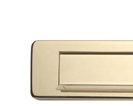 Hafele 'Gravity Flap' Letter Plate (350mm x 73mm), PVD Polished Brass - 986.10.045