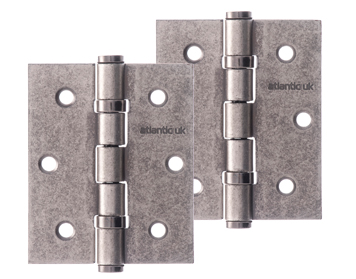 Atlantic 3 Inch Solid Steel Ball Bearing Hinges, Distressed Silver - A2HB32525/DS (sold in pairs)