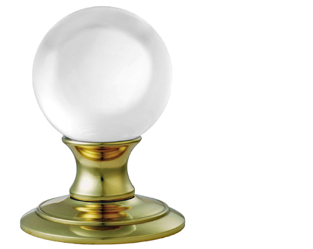 Carlisle Brass Delamain Ice Clear Crystal Ball Mortice Door Knobs, Polished Brass - AC010PB