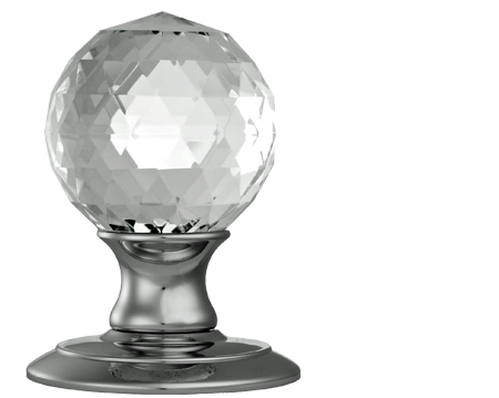 Carlisle Brass Delamain Ice Facetted Crystal Ball Door Knobs, Polished Chrome Or Satin Chrome - AC020