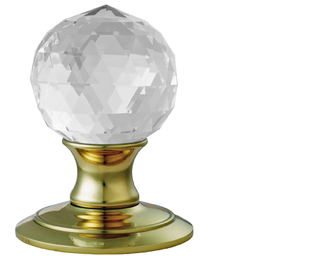 Ice 'Facetted' Crystal Ball Door Knobs, Polished Brass - AC020PB
