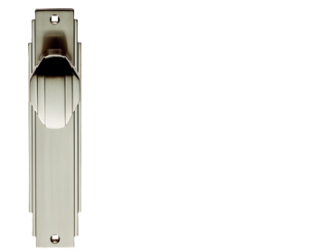Carlisle Brass Art Deco Style Door Knob On Backplate (Unsprung), Satin Nickel - ADR022SN (sold in pairs)