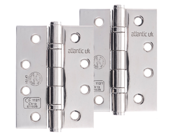 Atlantic 4 Inch Solid Steel Ball Bearing Hinges, Polished Stainless Steel - AH1433PSS (sold in pairs)