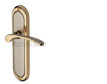 Heritage Brass 'Ambassador' Jupiter Finish Satin Nickel With Gold Edge Handles - AMB6200-JP (sold in pairs)