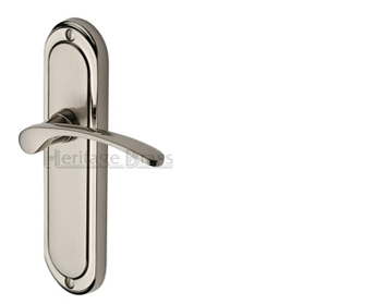 Heritage Brass 'Ambassador' Mercury Finish Satin Nickel With Polished Nickel Edge Handles - AMB6200-MC (sold in pairs)