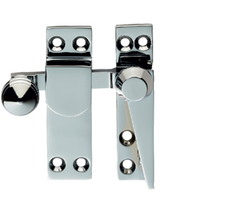 Carlisle Brass Architectural Quality Narrow Plate Sash Fasteners (Quadrant Arm) - Stainless Brass OR Satin Chrome - AQ38