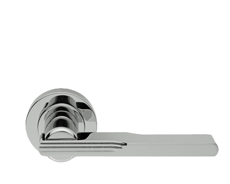 Superbe Manital Veronica Art Deco Door Handles On Round Rose, Polished Chrome OR  Satin Chrome