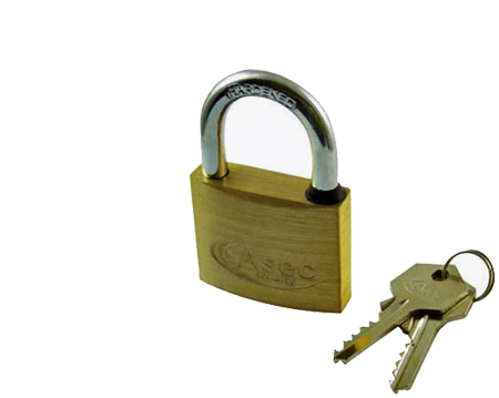 Asec Small 3 Pin, Standard Open Shackle, Brass Padlocks, 20mm, K/A Or K/D Options - AS2500