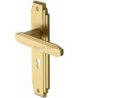 Heritage Brass Astoria Art Deco Style Door Handles, Satin Brass - AST5900-SB (sold in pairs)