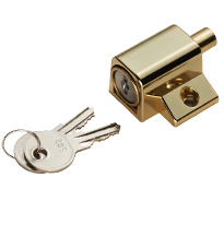 Carlisle Brass Key Lockable Patio Door Bolt, Silver OR White Finish - AWL4106