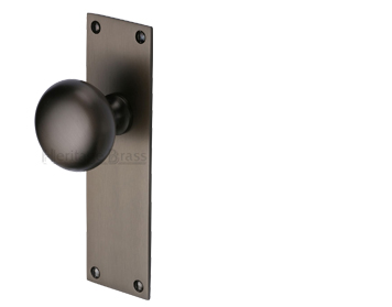 Heritage Brass 'Balmoral' Low Profile Door Knobs On Backplate, Matt Bronze - BAL8500-MB (sold in pairs)