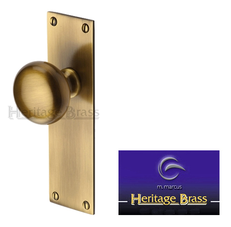 Balmoral Mortice Door Knobs On Backplate Antique Brass