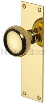 Heritage Brass 39 Balmoral 39 Low Profile Door Knobs On Backplate Polished Brass Bal8500 Pb Sold
