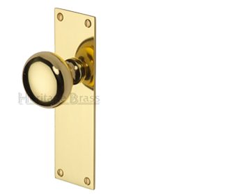 Heritage Brass 'Balmoral' Low Profile Door Knobs On Backplate, Polished Brass - BAL8500-PB (sold in pairs)