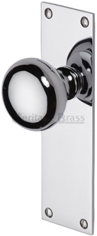 Heritage Brass 39 Balmoral 39 Low Profile Door Knobs On Backplate Polished Chrome Bal8500 Pc