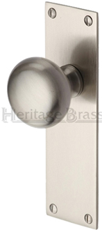 Heritage Brass 39 Balmoral 39 Low Profile Door Knobs On Backplate Satin Nickel Bal8500 Sn Sold