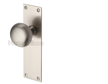 Heritage Brass 'Balmoral' Low Profile Door Knobs On Backplate, Satin Nickel - BAL8500-SN (sold in pairs)