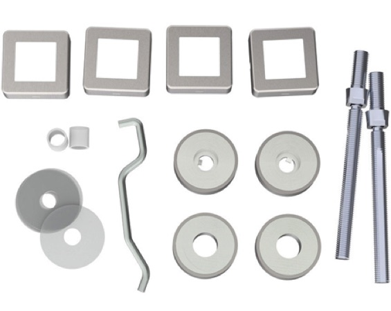 Eurospec Back To Back Fixing Kits, For 19mm Dia Square Bar, Satin Finish - BBF1019SSS/SQ