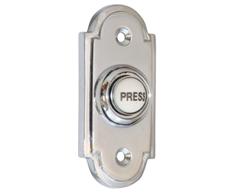 Prima 'Victorian' Shaped Bell Push With China 'Press' Button, Polished Chrome - BC1417