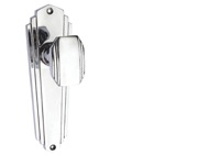 Prima Art Deco Door Knobs On Backplate, Polished Chrome - BC1424 (sold in pairs)