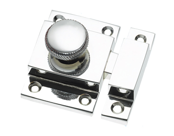 Prima Cupboard Catch With Knurled Knob, Polished Chrome - BC580