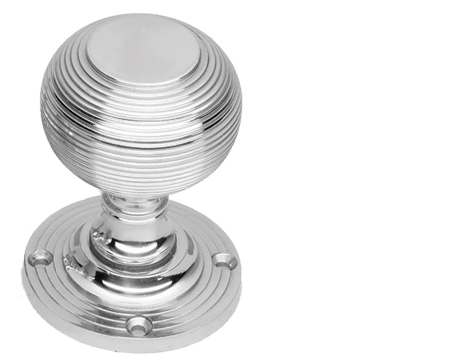 Prima 'Queen Anne' Reeded Mortice Door Knobs, Half Sprung, Polished Chrome - BC96