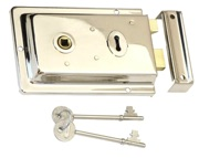 Prima Rim Lock (155mm x 105mm), Polished Nickel Finish - BH48