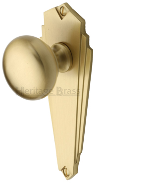 Heritage Brass 'Broadway' Art Deco Style Door Knobs On Backplate, Satin Brass - BR1800-SB (sold in pairs)