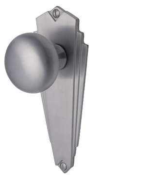 Heritage Brass 'Broadway' Art Deco Style Door Knobs On Backplate, Satin Chrome - BR1800-SC (sold in pairs)