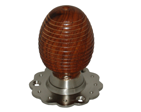 Chatsworth 'Fluted Rose Beehive' Rosewood Brown Mortice Door Knob, Satin Nickel Backplate - BUL401-3SN-BRN (sold in pairs)