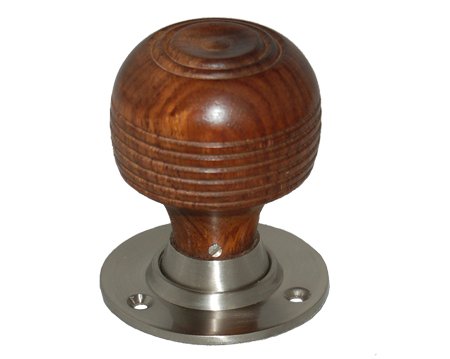 Chatsworth 'Cottage' Rosewood Brown Wood Mortice Door Knob, Satin Nickel Backplate - BUL402-2SN-BRN (sold in pairs)