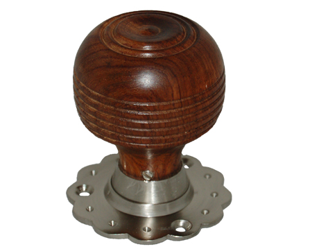 Chatsworth 'Fluted Rose Cottage' Rosewood Brown Mortice Door Knob, Satin Nickel Backplate - BUL402-3SN-BRN (sold in pairs)