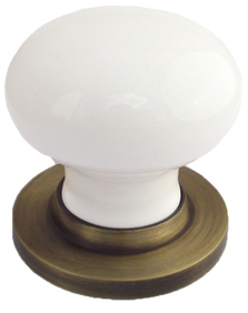 Chatsworth White Porcelain Mortice Door Knobs, Antique Brass Backplate    BUL602 ABBUL33 WHI