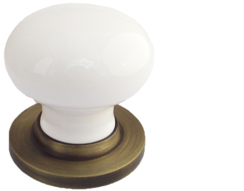 Chatsworth White Porcelain Mortice Door Knobs, Antique Brass Backplate - BUL602-ABBUL33-WHI