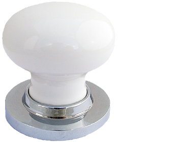 Chatsworth White Porcelain Mortice Door Knobs, Polished Chrome Backplate    BUL602 PCBUL33 WHI