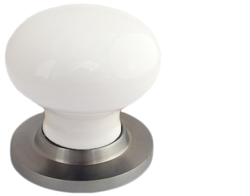 Chatsworth White Porcelain Mortice Door Knobs, Satin Chrome Backplate - BUL602-SCBUL33-WHI